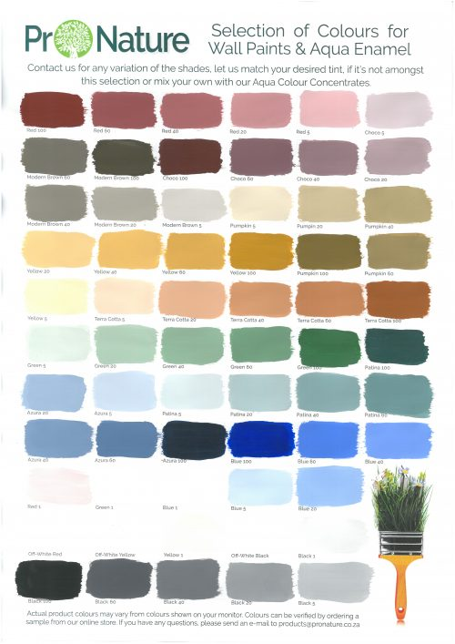 Pronature Colour Chart
